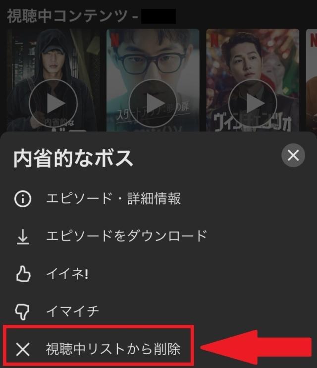 iPhoneを使用し、アプリから視聴中コンテンツを消す方法②下部の[視聴中リストから削除]をタップする。
